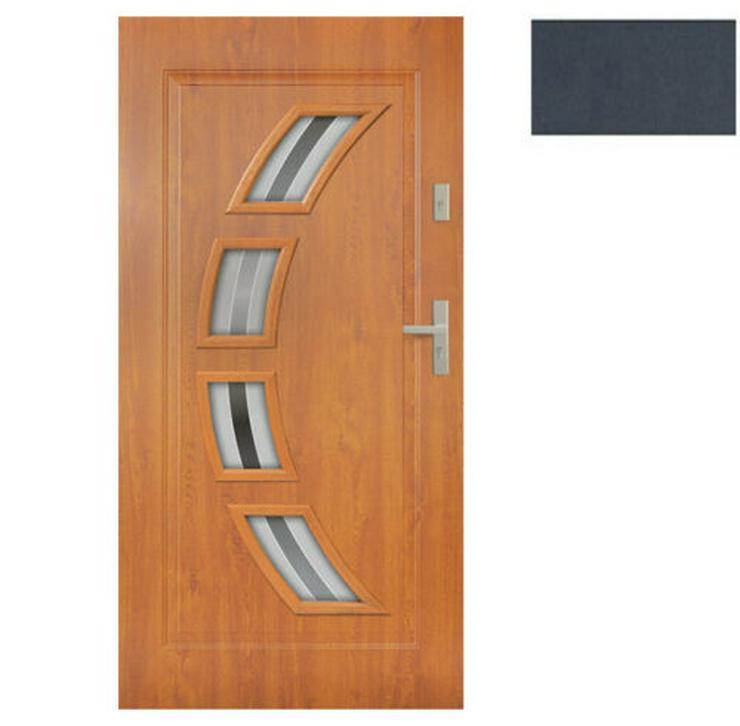 Bild 4: Tür Stahltür Eingangstür Haustür 65mm warm 90 100 Goldeiche Nuss Anthrazit Forte