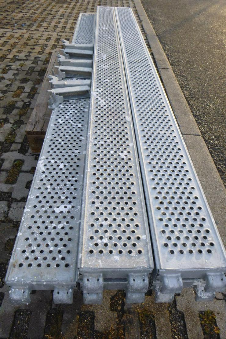 Bild 5: 5 St. Layher Stahlbeläge Stahlböden 3,07m + Steckkonsolen 0,19m