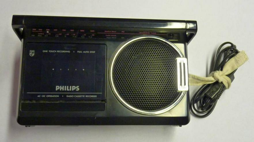 Bild 6: Philipps Kofferradio mit Kassettenrecorder, Netz oder Batterie