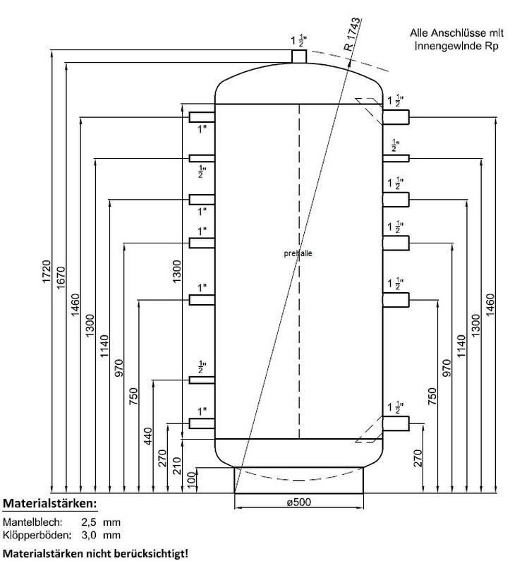 1A Pufferspeicher 500L Warmwasser Speicher für Heizung Kamin BHKW - Durchlauferhitzer & Wasserspeicher - Bild 1