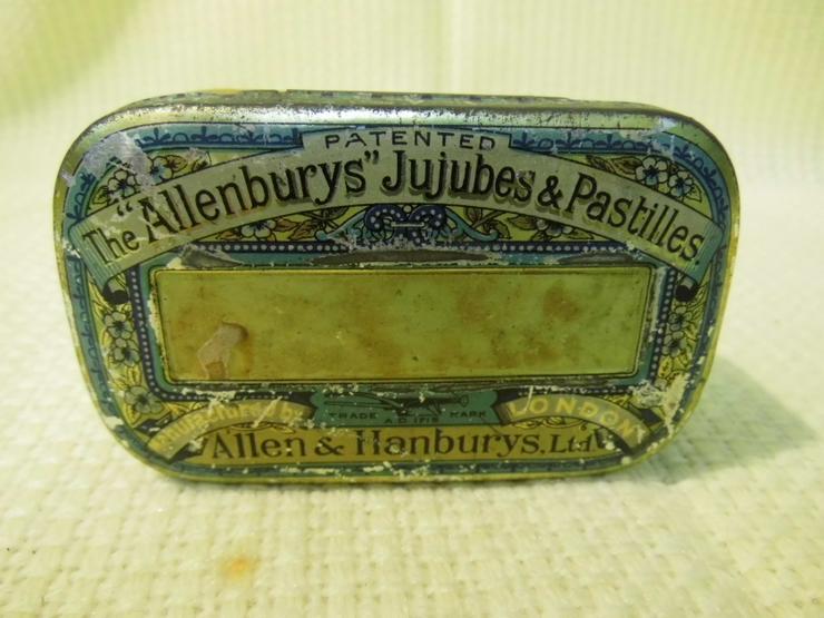 Antike Halspastillendose / Tin / The Allenburys Jujubes & Pastilles / um 1870