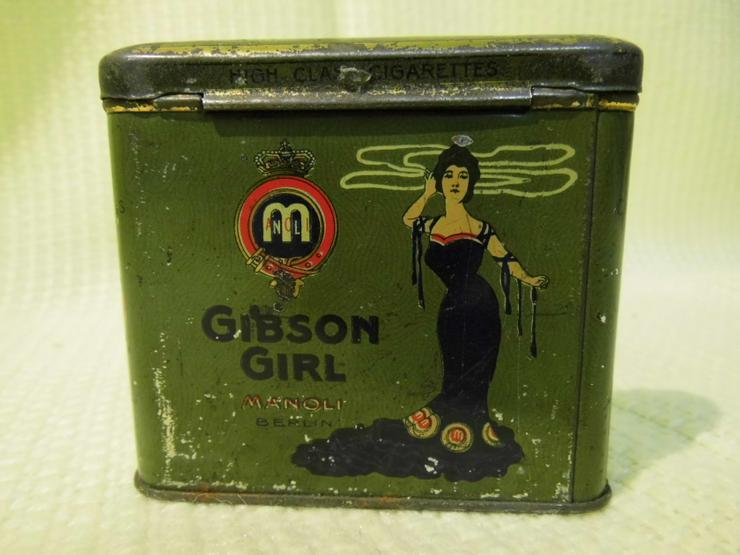 Antike Zigarettendose Manoli Gibson Girl ab 1914 Wimpel / Kaiserreich