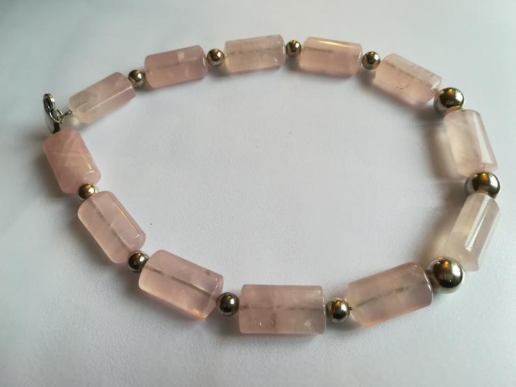 Halskette rose Quarz und Silber