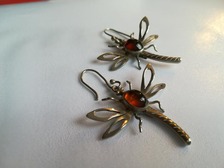 Bild 3: schöne Silber 925 Ohrringe – Libellen mit Bernstein