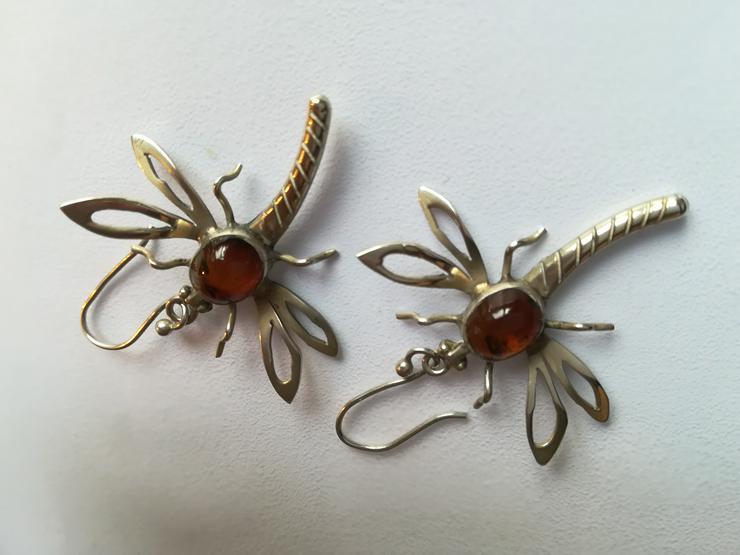 Bild 2: schöne Silber 925 Ohrringe – Libellen mit Bernstein