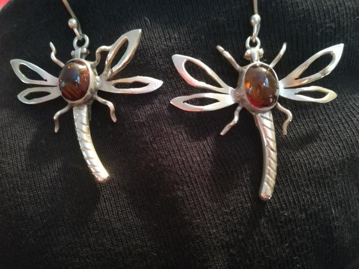 schöne Silber 925 Ohrringe – Libellen mit Bernstein - Ohrschmuck - Bild 1