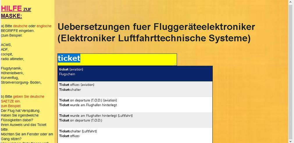 Bild 5: Woerterbuch Luftfahrt-Begriffe/ Texte: Flugzeug-Dokumentationen uebersetzen
