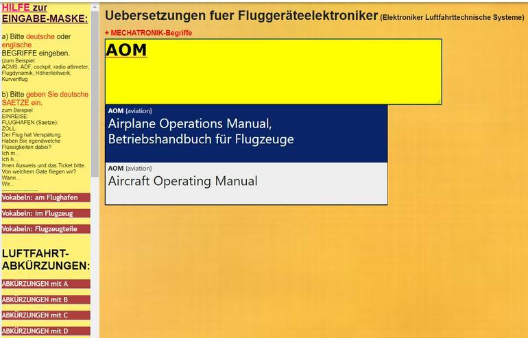 Woerterbuch Luftfahrt-Begriffe/ Texte: Flugzeug-Dokumentationen uebersetzen
