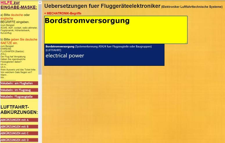 Bild 2: Woerterbuch Luftfahrt-Begriffe/ Texte: Flugzeug-Dokumentationen uebersetzen