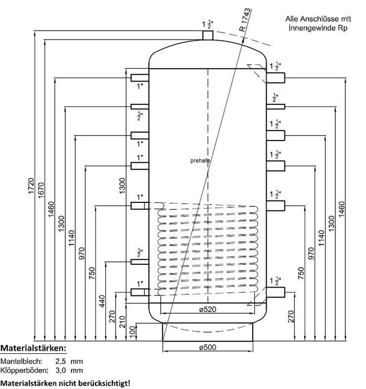 1A Pufferspeicher 500L Warmwasser Speicher für Heizung Solar BHKW - Durchlauferhitzer & Wasserspeicher - Bild 1
