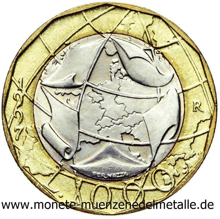 Italien 2 Stück 1000 Lire Europakarte Fehlprägung und ohne Fehlprägung