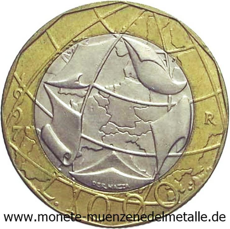 Bild 2: Italien 2 Stück 1000 Lire Europakarte Fehlprägung und ohne Fehlprägung
