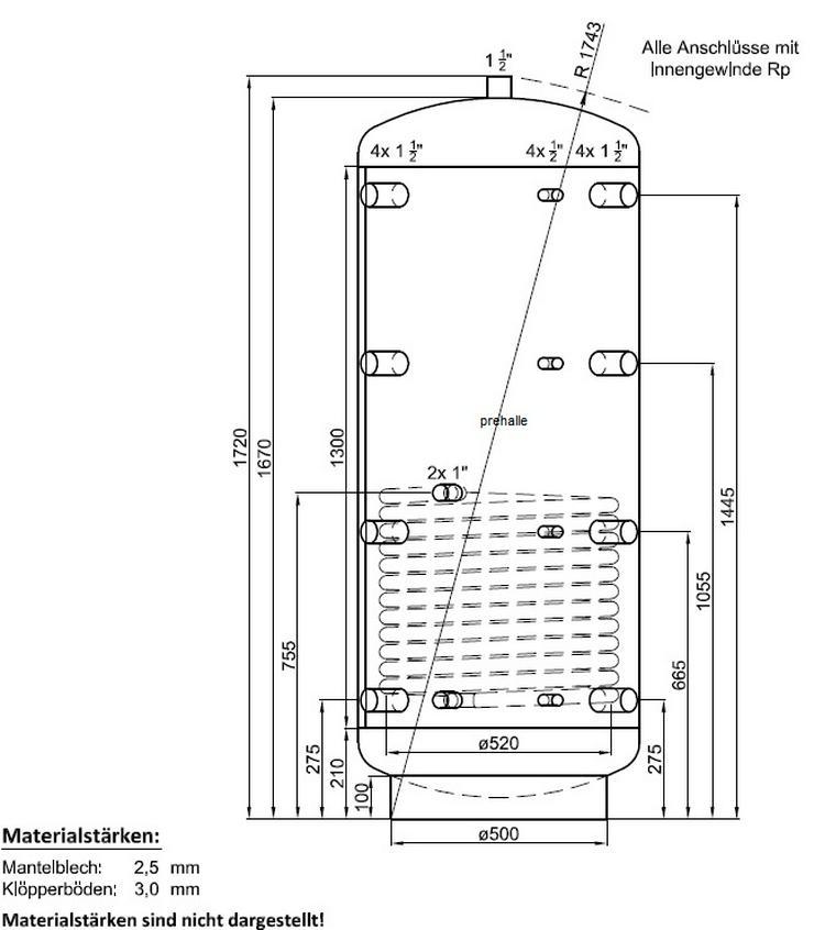 1A Pufferspeicher 500L Warmwasser Speicher für Heizung Solar Ofen - Durchlauferhitzer & Wasserspeicher - Bild 1