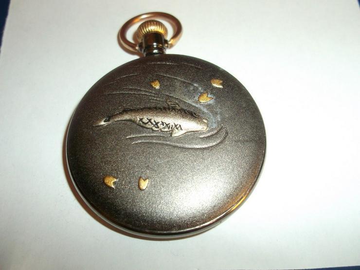 Bild 2: THU-02 Taschenuhr Sprungdeckel Uhr Herrenuhr Pocket Watch Fisch