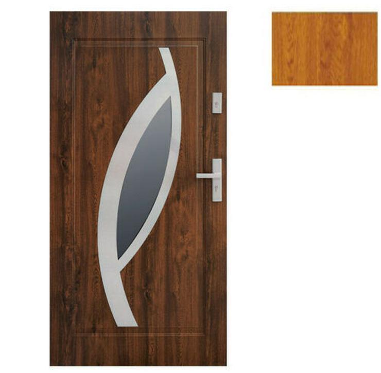 Bild 2: Tür Stahltür Eingangstür Haustür 65mm warm 90 100 Goldeiche Nuss Anthrazit Miram