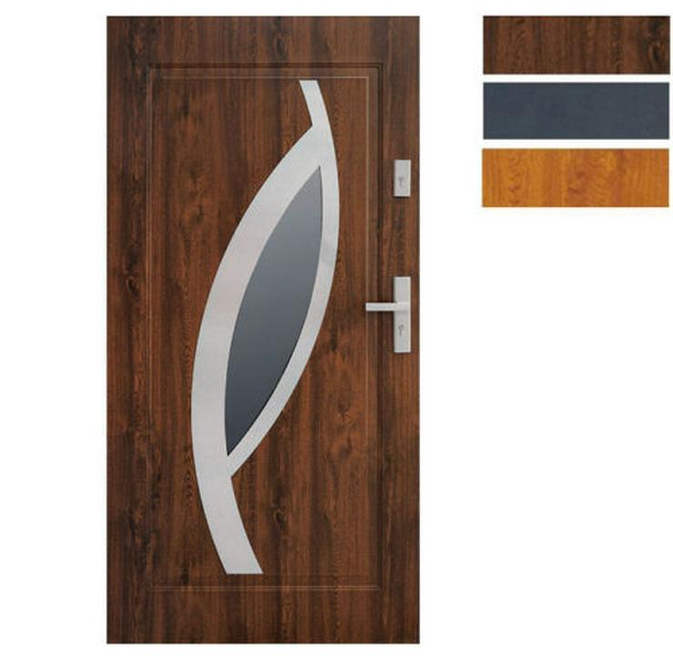 Tür Stahltür Eingangstür Haustür 65mm warm 90 100 Goldeiche Nuss Anthrazit Miram - Türen - Bild 1