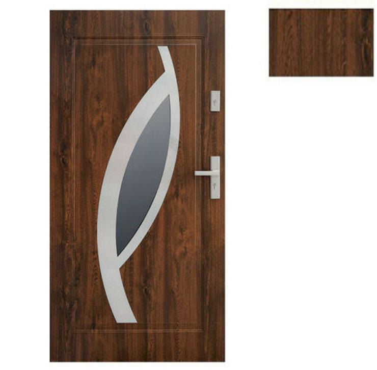 Bild 3: Tür Stahltür Eingangstür Haustür 65mm warm 90 100 Goldeiche Nuss Anthrazit Miram