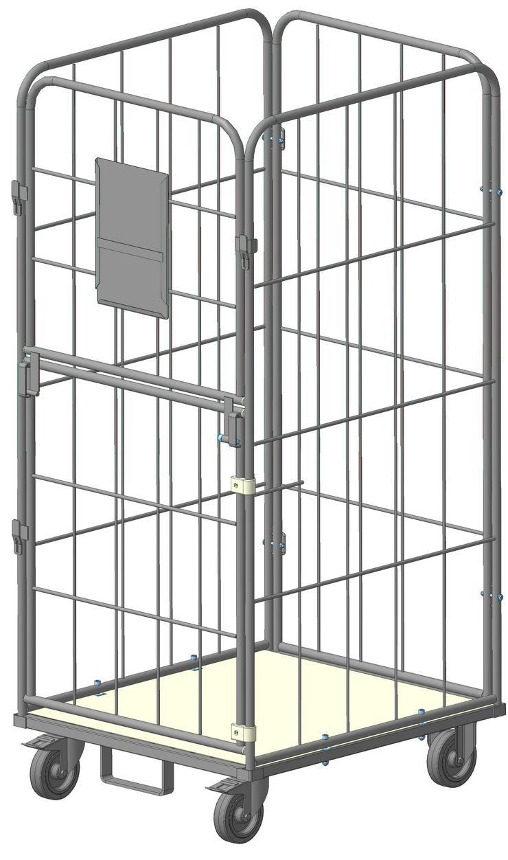 Gitter Rollcontainer mit klappbare (oben) und drehende (unten) Türen für Wäschelogistik. Modell RT 7180-1.62