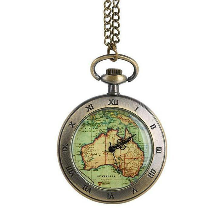 THU-07 Taschenuhr, Map Australien, Herrenuhr, Uhr, Karte Australien Bronze