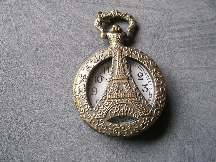 THU-08 Taschenuhr Sprungdeckeluhr Herrenuhr Pocket Watch Eiffelturm Bronze