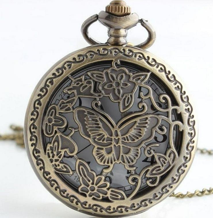 THU-13 Taschenuhr Herrenuhr Sprungdeckel Uhr Schmetterling Pocket Watch - Taschenuhren - Bild 1