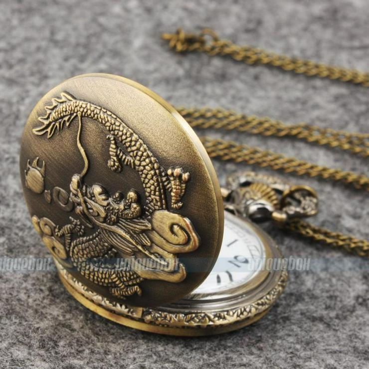 THU-14 Taschenuhr, Spungdeckeluhr, Herrenuhr, Uhr DRACHE, Dragon Bronze fbg.