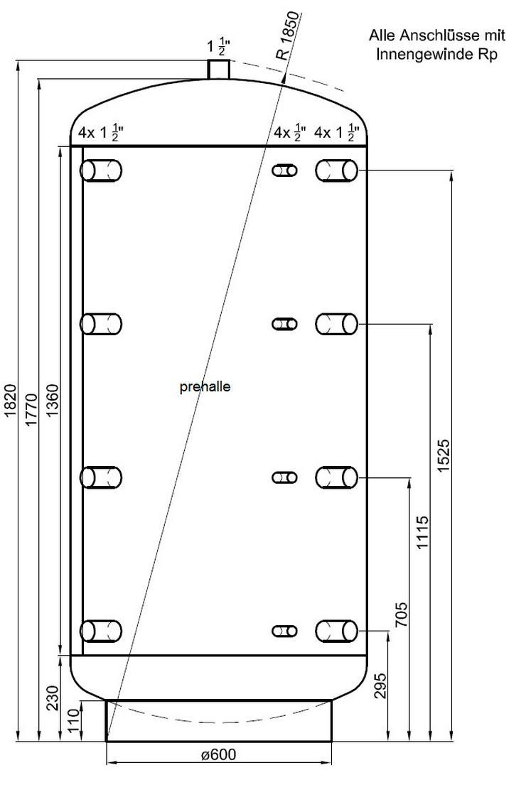 1A Pufferspeicher 800 L. Für Heizung Solar Kamin Kessel Ofen prehalle