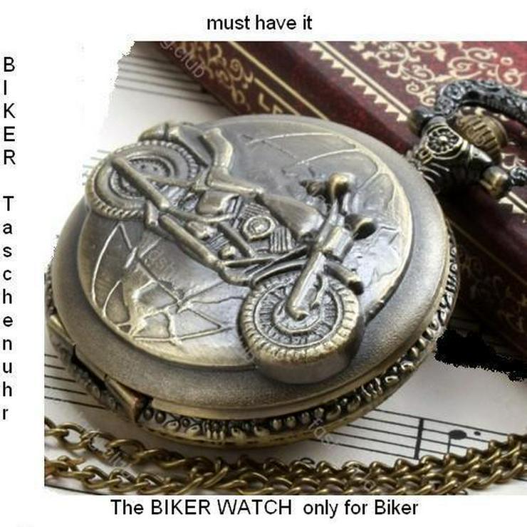 THU-22 Taschenuhr Sprungdeckeluhr Herrenuhr Pocket Watch Bike, Krad, Motorrad - Bild 1