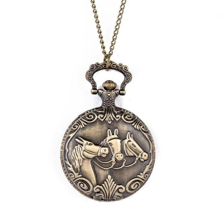 THU-24 Taschenuhr Sprungdeckeluhr Herrenuhr Pocket Watch Pferde Pferd Horses