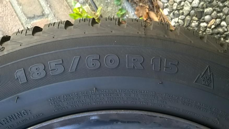 Bild 3: 4x Winterreifen mit Stahlfehlgen 185/60R 15 Michelin Alpin A4 zu verkaufen