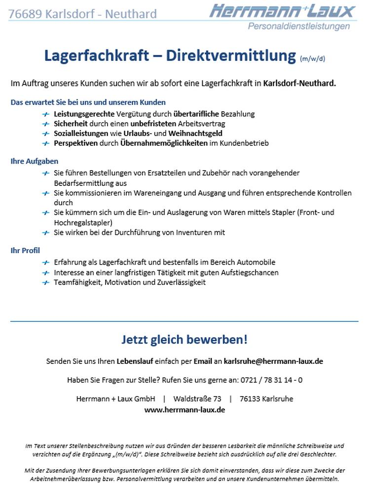 Lagerfachkraft – Direktvermittlung (m/w/d)