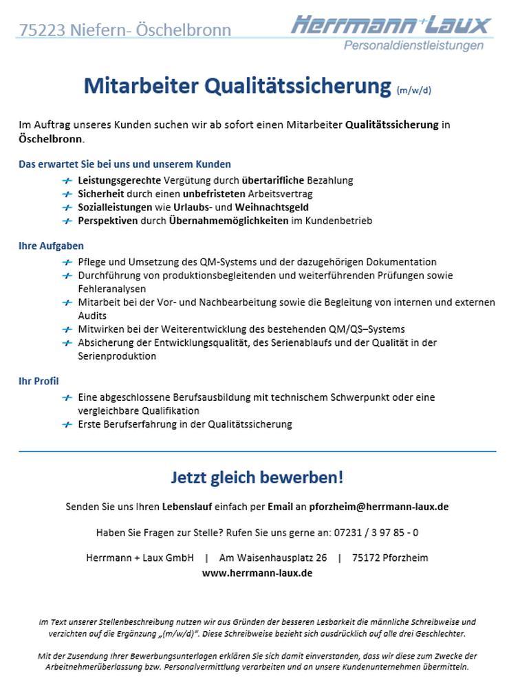 Mitarbeiter Qualitätssicherung (m/w/d) - Weitere - Bild 1