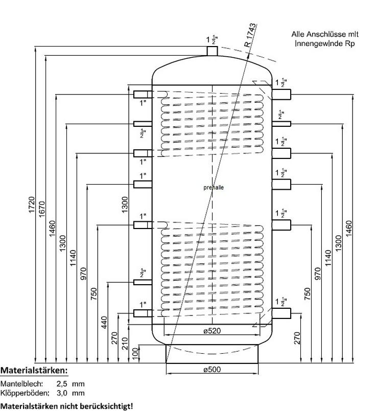 1A Pufferspeicher 500L Warmwasser Speicher für Solar Heizung BHKW