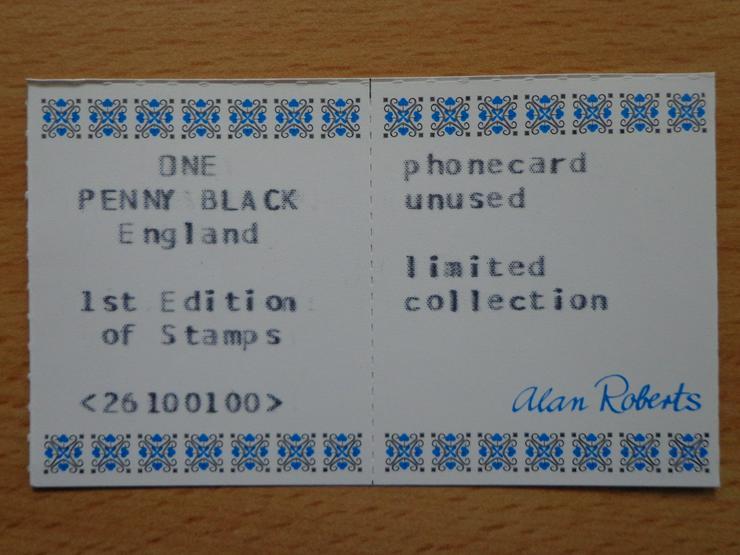"""Bild 3: Pre-Paid-Telefonkarte """"POSTAGE ONE PENNY"""" noch mit dem vollen Guthaben"""
