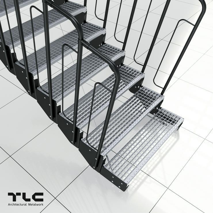 Modulreppe TLC, Feuerverzinkung, Gitterost, 5 Stufen