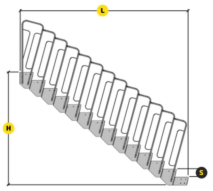 Bild 3: Modulreppe TLC, Feuerverzinkung, EXTERNES ANTIRUTSCHBRETT 12 Stufen