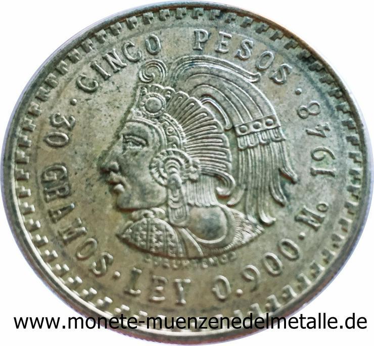 Mexiko 5 Pesos Cuauthemoc 1948 Silber Münze - Münzen - Bild 1