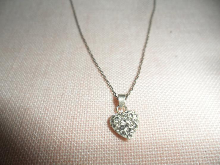 Halskette Rein Silber m. Herz  Rein Silber   - Halsketten & Colliers - Bild 1