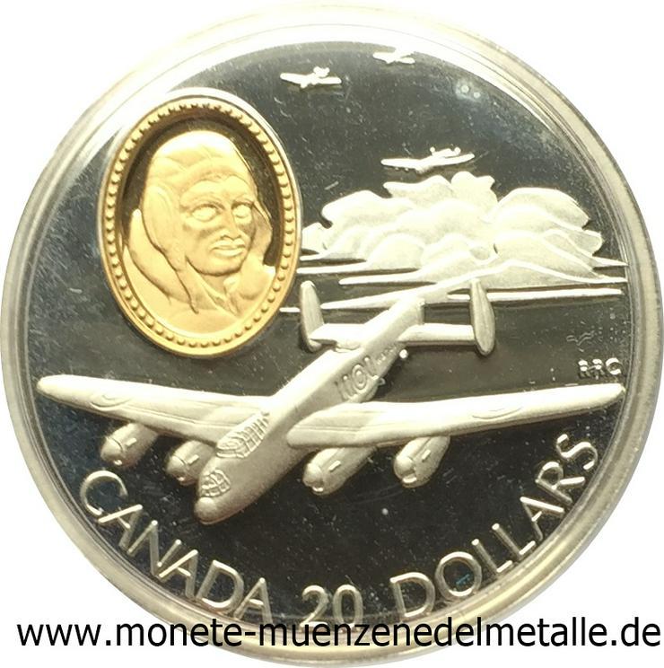 Kanada 20 Dollar Avro Flugzeug lancaster 1990 Gold 999  und silber 925 Münze