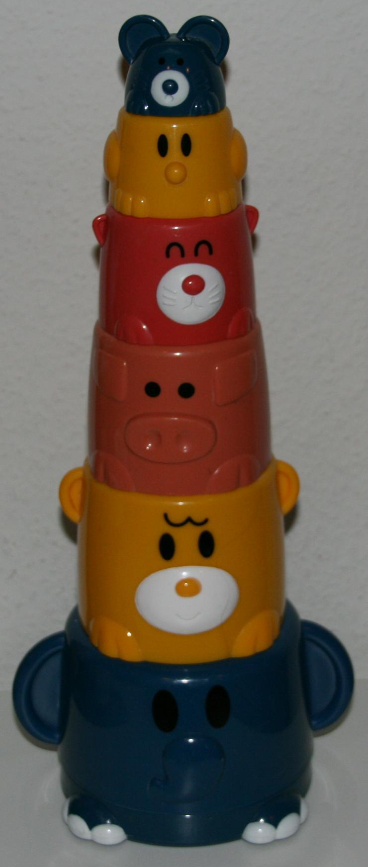 Bunter Becher-Stapel-Spaß beim Baden - mit Tier-Motiven - Spielzeug für Babys - Bild 1