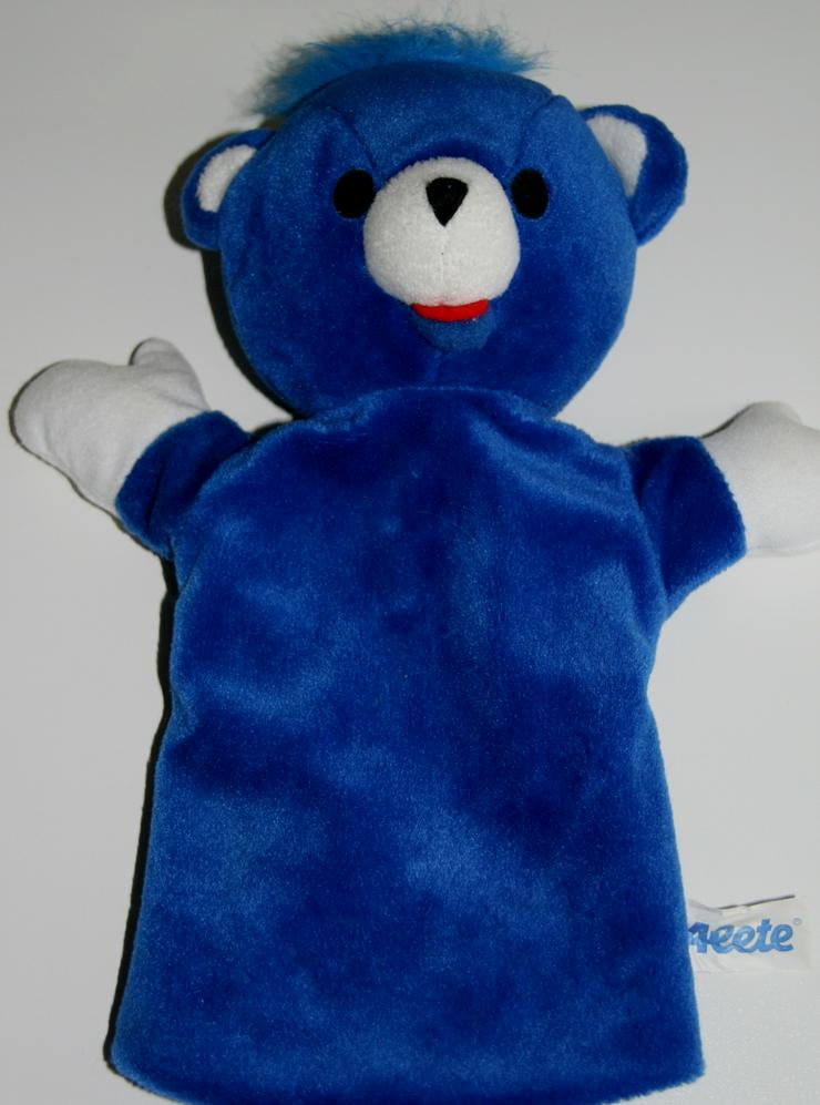 Blauer Bär - ca. 28 cm - Hand-Puppe - ideal für Kleinkinder - Spielzeug für Babys - Bild 1