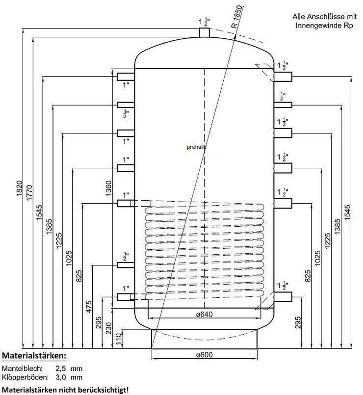 1A Pufferspeicher 800 L. Für Heizung Solar Kamin BHKW Kessel pre - Durchlauferhitzer & Wasserspeicher - Bild 1