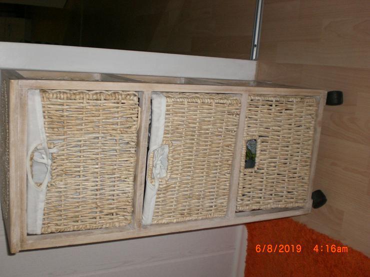 Bild 2: Nachttisch Schubladenschrank braun Badkommode Kommodenschrank Korb Regal