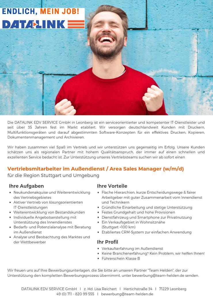 Vertriebsmitarbeiter im Außendienst / Area Sales Manager (w/m/d) für die Region Stuttgart und Umgebung