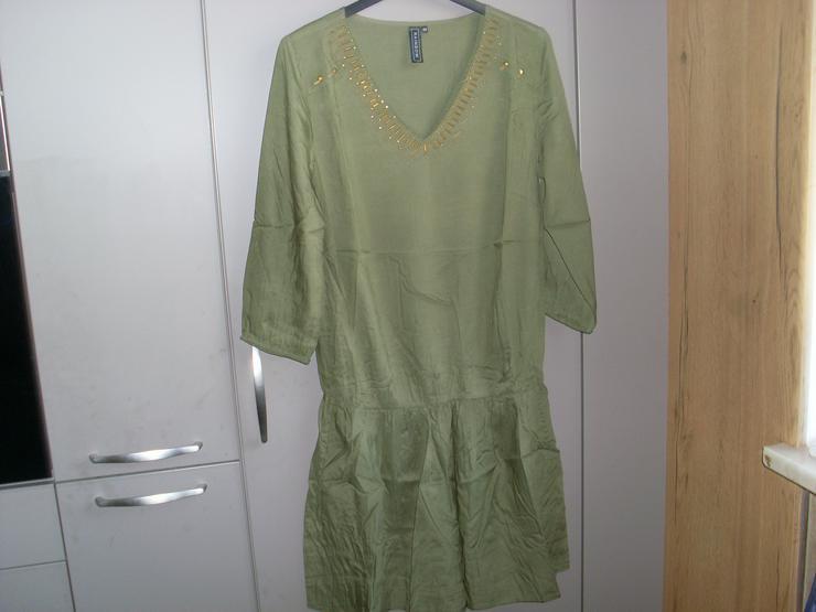 NEU: Damen Kleid - Überzieher  Gr. 40 in grün mit  Pailetten 3/4 Arm - Größen 40-42 / M - Bild 1
