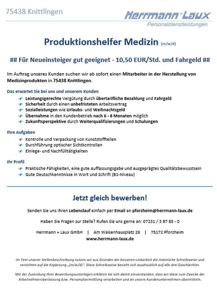 Produktionshelfer Medizin (m/w/d)