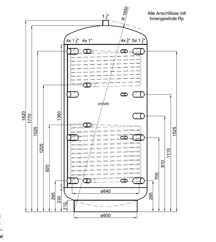 1A Pufferspeicher 800 L. Für Heizung Solar Kamin Kessel Ofen pre - Durchlauferhitzer & Wasserspeicher - Bild 1