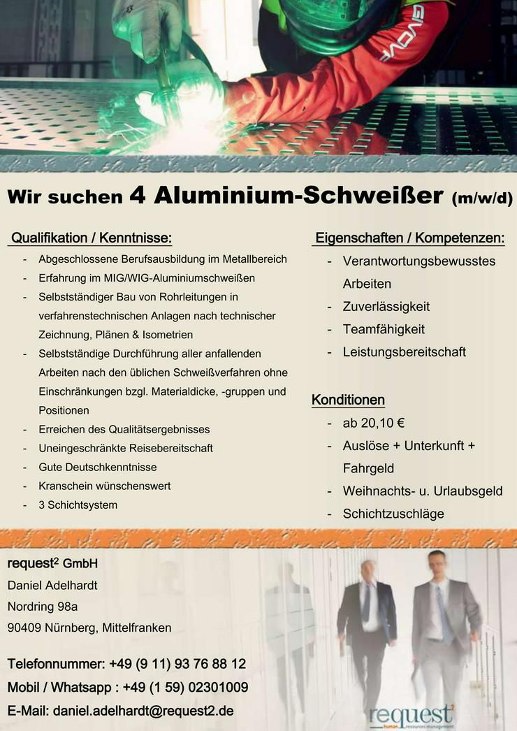 Wir suchen 7 Aluminium-Schweißer (m/w/d) an diversen Standorten!!! AB € 20,10 / Stunde