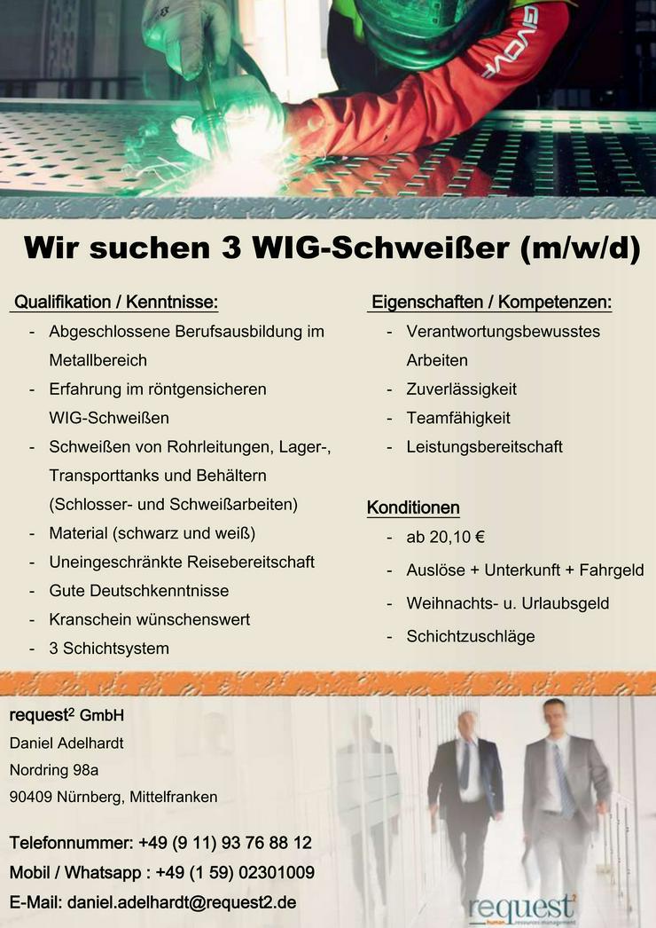Wir suchen 3 WIG-Schweißer (m/w/d) AB 20,10€ / STUNDE