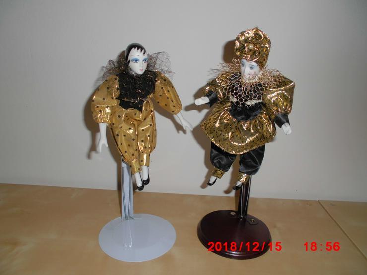 Bild 2: 2 große Deko-Puppe ca. 25 cm mit Ständer 28-35 cm verstellbar
